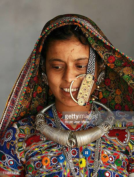 Meghwal young woman in the village of Hodka.One of the hidden tribes in Gujarat, India.