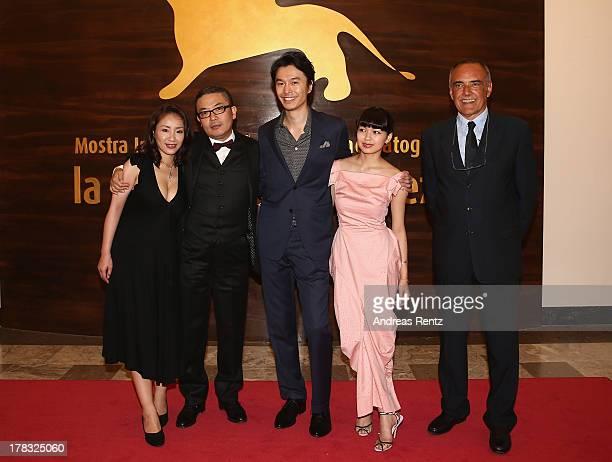 Megumi Kagurazaka Sion Sono Hiroki Hasegawa Fumi Nikaido and Alberto Barbera attend Why Don't You Play In Hell Premiere during the 70th Venice...