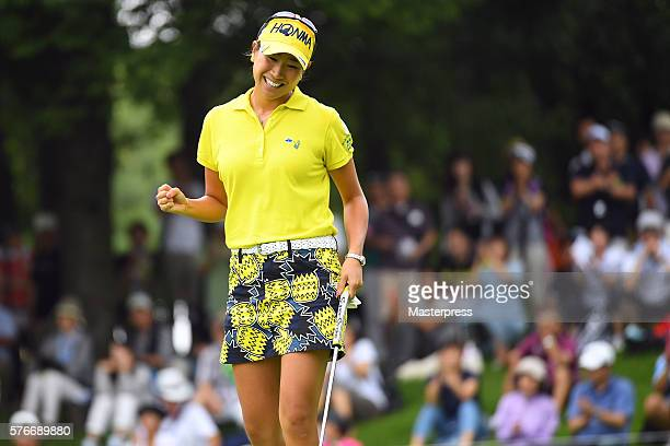 Megumi Kido of Japan celebrates after making her birdie putt on the 15th green during the third round of the Samantha Thavasa Girls Collection Ladies...
