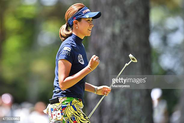 Megumi Kido of Japan celebrates after the birdie putt on the 5th green during the third round of the CyberAgent Ladies Golf Tournament at the...