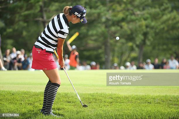 Megumi Kido of Japan chips onto the 18th green during the final round of the Miyagi TV Cup Dunlop Ladies Open 2016 at the Rifu Golf Club on September...