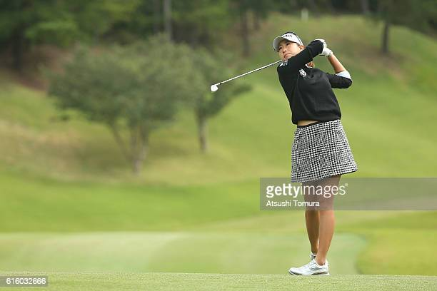 Megumi Kido of Japan hits her second shot on the 3rd hole during the third round of the Nobuta Group Masters GC Ladies at the Masters Golf Club on...