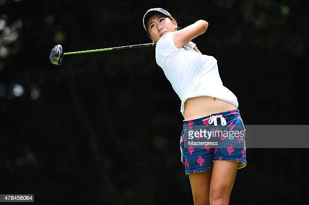 Megumi Kido of Japan hits her tee shot on the 12th hole during the first round of the Earth Mondamin Cup at the Camellia Hills Country Club on June...