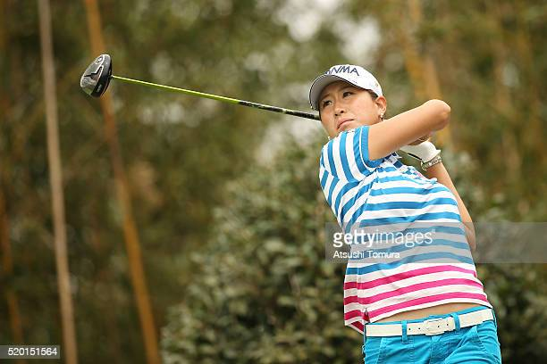 Megumi Kido of Japan hits her tee shot on the 17th hole during the Studio Alice Open at the Hanayashiki Golf Club Yokawa Course on April 10 2016 in...