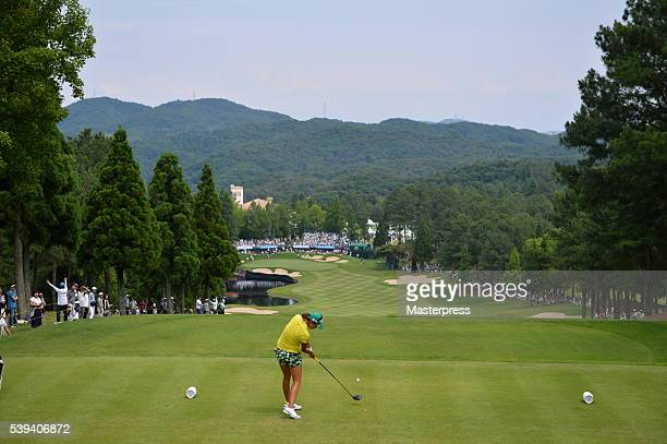 Megumi Kido of Japan hits her tee shot on the 18th hole during the third round of the Suntory Ladies Open at the Rokko Kokusai Golf Club on June 11...