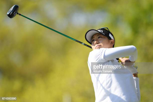 Megumi Kido of Japan hits her tee shot on the 18th hole during the first round of the CyberAgent Ladies Golf Tournament at the Grand Fields Country...