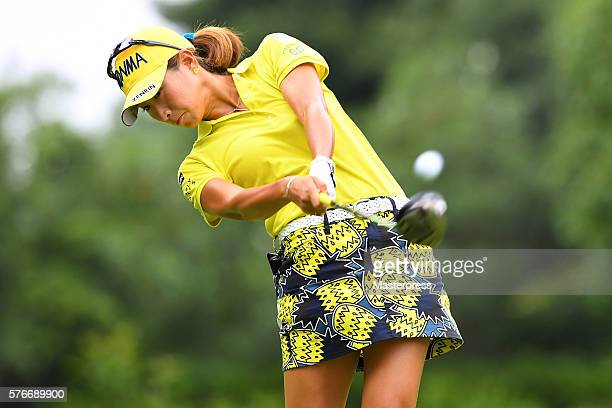 Megumi Kido of Japan hits her tee shot on the 2nd hole during the third round of the Samantha Thavasa Girls Collection Ladies Tournament 2016 at the...