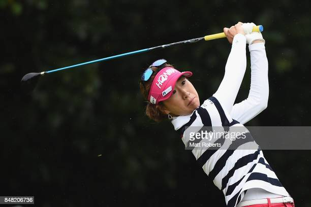 Megumi Kido of Japan hits her tee shot on the 2nd hole during the final round of the Munsingwear Ladies Tokai Classic 2017 at the Shin Minami Aichi...