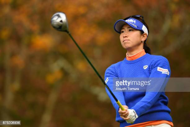 Megumi Kido of Japan hits her tee shot on the 2nd hole during the second round of the Daio Paper Elleair Ladies Open 2017 at the Elleair Golf Club on...