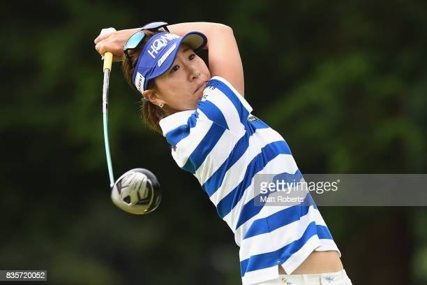 Megumi Kido of Japan hits her tee shot on the 4th hole during the final round of the CAT Ladies Golf Tournament HAKONE JAPAN 2017 at the Daihakone...