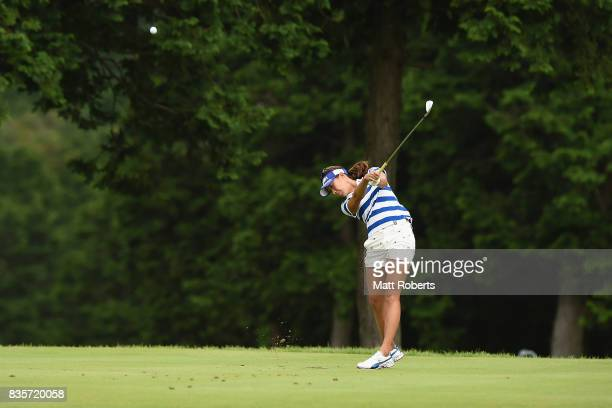 Megumi Kido of Japan hits her tee shot on the 5th hole during the final round of the CAT Ladies Golf Tournament HAKONE JAPAN 2017 at the Daihakone...