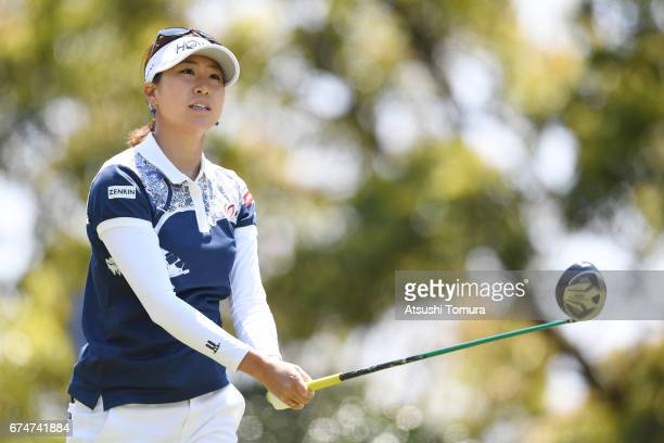 Megumi Kido of Japan hits her tee shot on the 6th hole during the second round of the CyberAgent Ladies Golf Tournament at the Grand Fields Country...