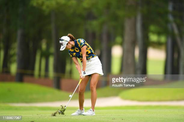 Megumi Kido of Japan hits her third shot on the 12th hole during the second round of the Ai Miyazato Suntory Ladies Open Golf Tournament at Rokko...