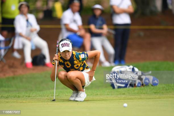 Megumi Kido of Japan lines up a putt on the 12th green during the second round of the Ai Miyazato Suntory Ladies Open Golf Tournament at Rokko...