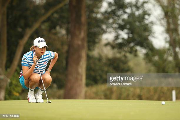 Megumi Kido of Japan lines up her birdie putt on the 1st green during the Studio Alice Open at the Hanayashiki Golf Club Yokawa Course on April 10...