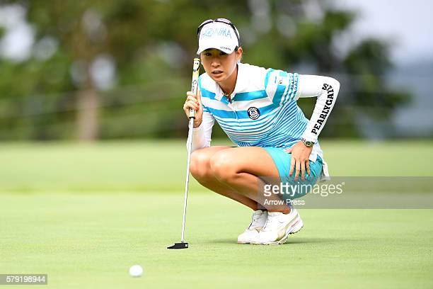 Megumi Kido of Japan lines up her putt on the 1st green during the second round of the Century 21 Ladies Golf Tournament 2016 at the Izu Daijin...
