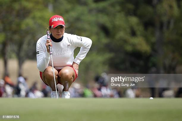Megumi Kido of Japan looks over a green on the 9th hole during the third round of the YAMAHA Ladies Open Katsuragi at the Katsuragi Golf Club Yamana...