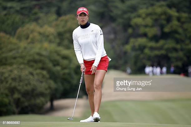 Megumi Kido of Japan plays a putt on the 6th green during the third round of the YAMAHA Ladies Open Katsuragi at the Katsuragi Golf Club Yamana...
