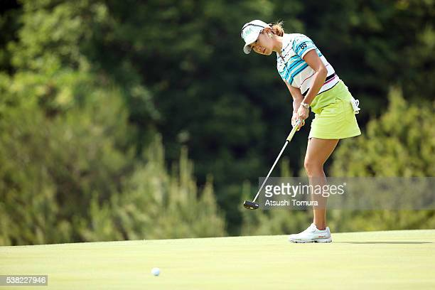 Megumi Kido of Japan putts on the 16th green during the final round of the Yonex Ladies Golf Tournament 2016 at the Yonex Country Club on June 5 2016...