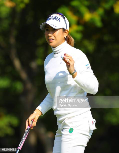 Megumi Kido of Japan reacts after a putt on the 11th hole during the final round of the TOTO Japan Classic on November 6 2016 in Tokyo Japan