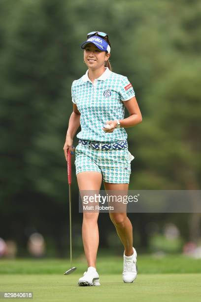 Megumi Kido of Japan reacts after her putt on the first green during the first round of the NEC Karuizawa 72 Golf Tournament 2017 at the Karuizawa 72...