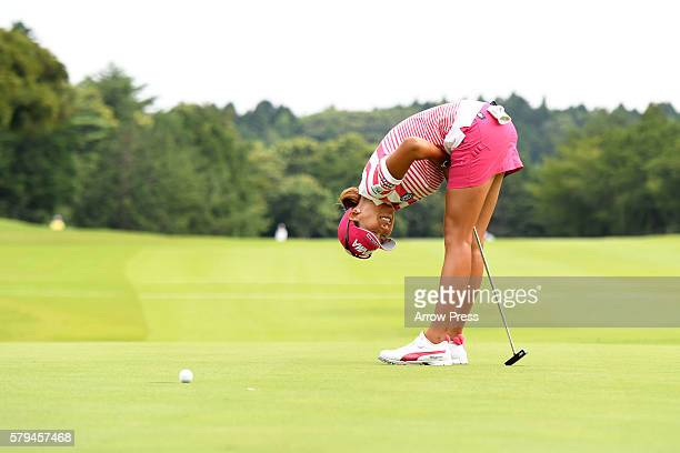 Megumi Kido of Japan reacts hole during the final round of the Century 21 Ladies Golf Tournament 2016 at the Izu Daijin Country Club on July 24 2016...