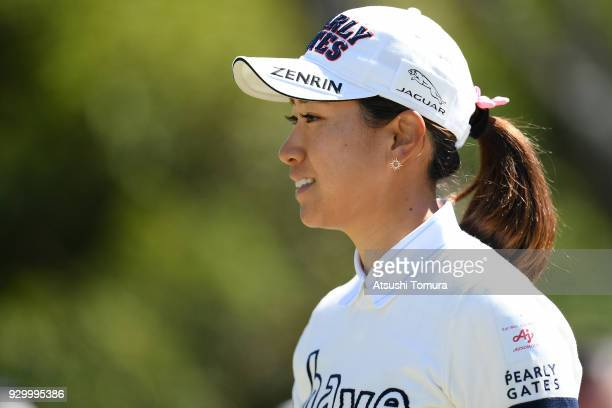 Megumi Kido of Japan smiles during the second round of the Tokohama Tire PRGR Ladies Cup at Tosa Country Club on March 10 2018 in Konan Kochi Japan