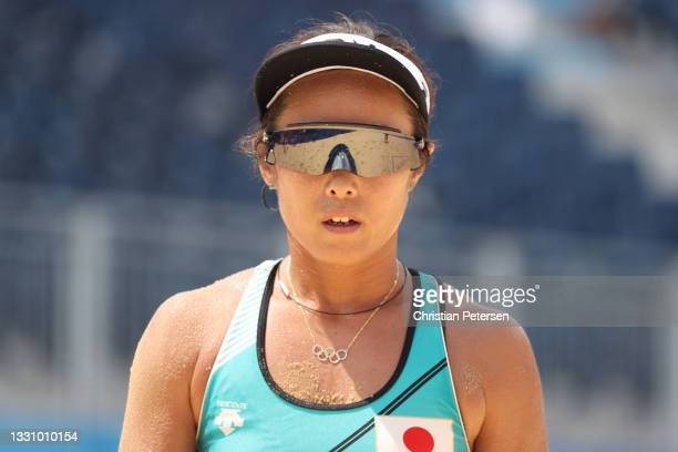 Megumi Murakami of Team Japan looks on against Team Switzerland during the Women's Preliminary Round - Pool F beach volleyball on day five of the...