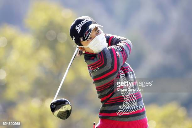 Megumi Shimokawa of Japan plays a tee shot on the fifth hole in the first round during the T-Point Ladies Golf Tournament at the Wakagi Golf Club on...