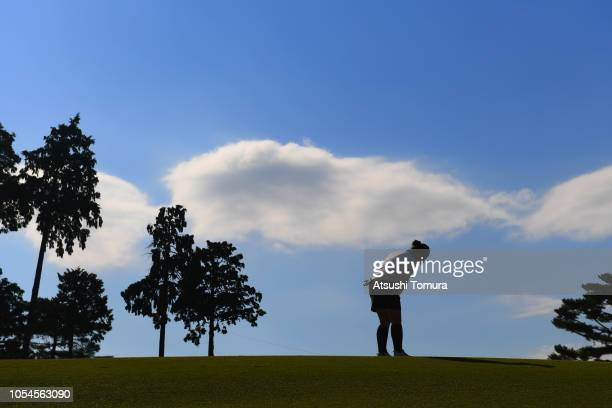 Megumi Shimokawa of Japan putts on the 9th hole during the final round of the Hisako Higuchi Mitsubishi Electric Ladies at Musashigaoka Golf Course...