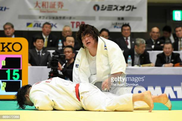 Megumi Tachimoto and Sara Asahina compete in the final during the 32nd Empress Cup All Japan Women's Judo Championship at Yokohama Cultural Gymnasium...