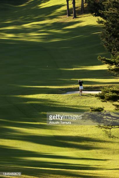 Megumi Takahashi of Japan hits her second shot on the 8th hole during the first round of the Stanley Ladies at Tomei Country Club on October 8, 2021...