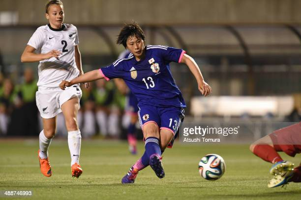 Megumi Takase of Japan scores a goal during the women's international friendly match between Japan and New Zealand at Nagai Stadium on May 8, 2014 in...