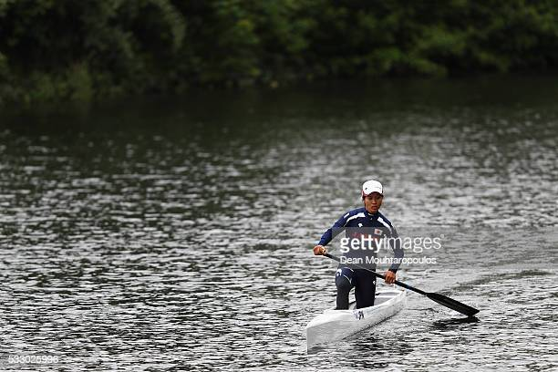 Megumi Tsubota of Japan is pictured warming up during Day 1 of the ICF Canoe Sprint World Cup 1 held at Sportpark Regattabahn on May 20, 2016 in...