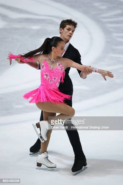 Megumi Tsutsumi and Devin Dickey of Mexico performs in the Junior Ice Dance Short Dance Program during day three of the ISU Junior Grand Prix of...