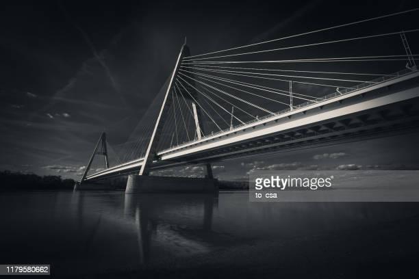megyeri bridge, budapest, hungary - suspension bridge stock pictures, royalty-free photos & images