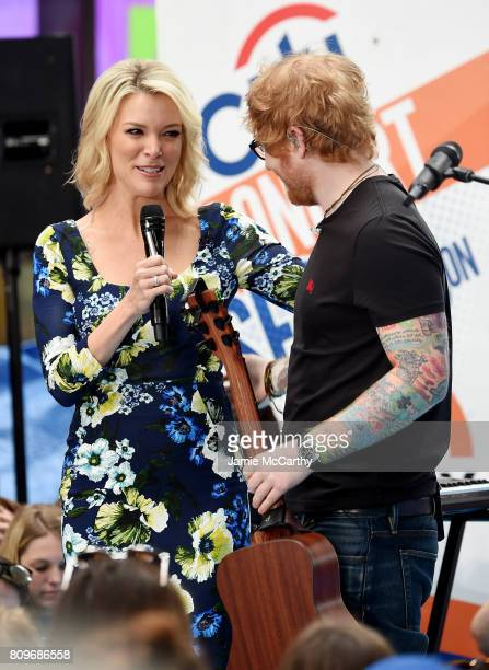 """Megyn Kelly and Ed Sheeran speak on NBC's """"Today"""" at Rockefeller Plaza on July 6, 2017 in New York City."""