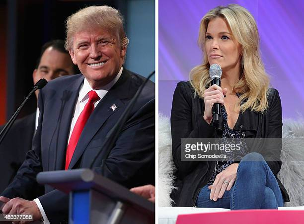 In this composite image a comparison has been made between Donald Trump and Megyn Kelly NEW YORK NY NOVEMBER 08 Megyn Kelly FOX News Channel Anchor...