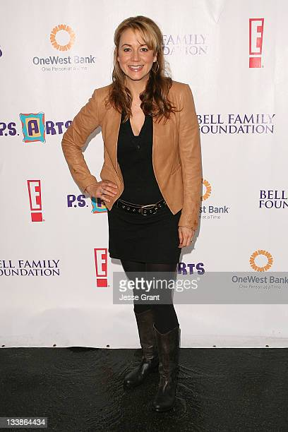 Megyn Price arrives at the PS Arts Amazing Express Yourself Event at Barker Hangar on November 20 2011 in Santa Monica California
