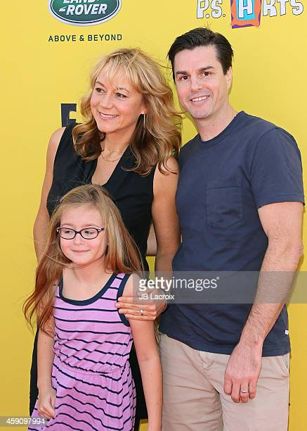 Megyn Price, Grace Price and Dr. Edward Cotner attend P.S. ARTS presents Express Yourself 2014 with sponsors OneWest Bank and Jaguar Land Rover at...