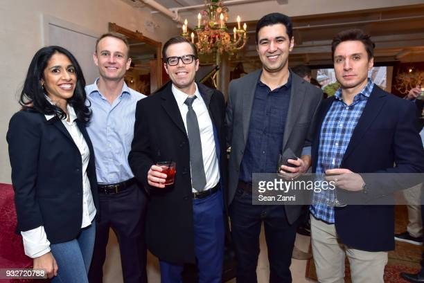 Meha Leigh Todd Leigh Scott McDavid Author Chris Babu and Jason McCarthy attend 'The Initiation' Book Launch at Bouley TK on March 15 2018 in New...