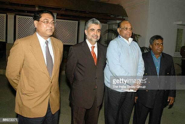 Mehboob Rehman CEO of Bangladesh Cricket Board with Nasim Ashraf Pakistan Cricket Board Chairman Sharad Pawar NCP leader Union Cabinet Minister of...