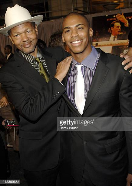 """Mehcad Brooks and father during Walt Disney Pictures and Jerry Bruckheimer Films' Premiere """"Glory Road"""" at Pantages Theatre in Hollywood, California,..."""
