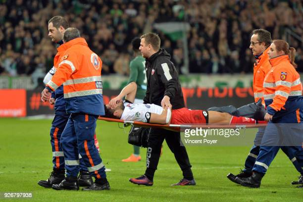 Mehdi ABEID is injured during the Ligue 1 match between AS SaintEtienne and Dijon FCO at Stade GeoffroyGuichard on March 3 2018 in SaintEtienne
