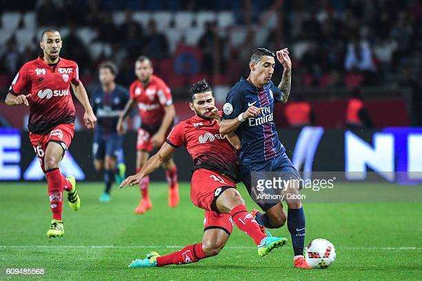 Mehdi Abeid of Dijon and Angel Di Maria of PSG during the French Ligue 1 game between Paris SaintGermain and Dijon FCO at Parc des Princes on...