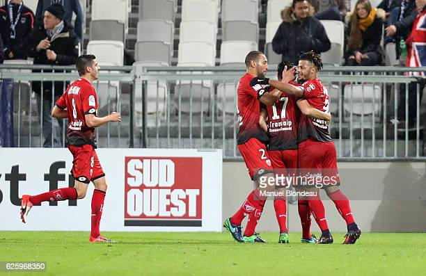 Mehdi Abeid of Dijon celebrates after scoring a goal during the French Ligue 1 match between Bordeaux and Dijon at Stade Matmut Atlantique on...