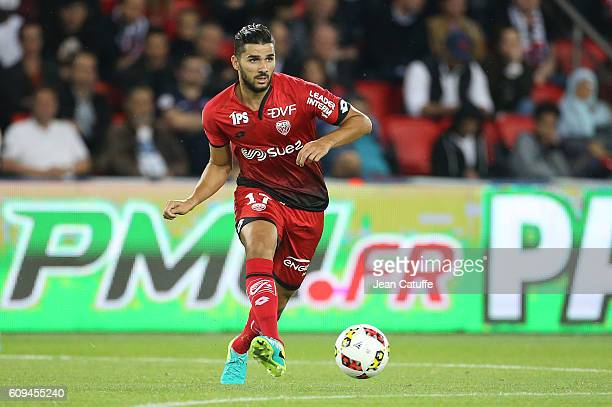Mehdi Abeid of Dijon in action during the French Ligue 1 football match between Paris SaintGermain and Dijon FCO at Parc des Princes on September 20...