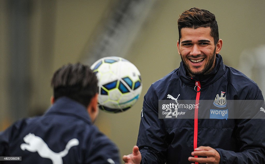 Mehdi Abeid throws a ball to a teammate during the Newcastle United Pre-Season Training session at The Newcastle United Training Centre on July 28, 2015, in Newcastle upon Tyne, England.