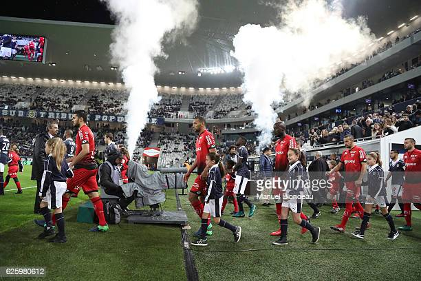 Mehdi Abeid Yunis Abdelhamid Julio Tavares and Fouad Chafik of Dijon during the French Ligue 1 match between Bordeaux and Dijon at Stade Matmut...