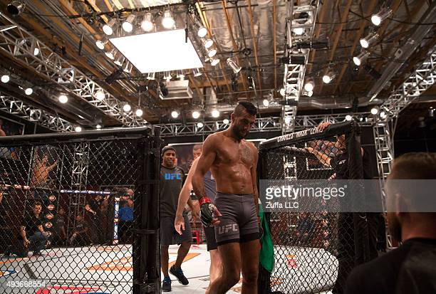 Mehdi Baghdad exits the cage after his loss to Julian Erosa during the filming of The Ultimate Fighter: Team McGregor vs Team Faber at the UFC TUF...